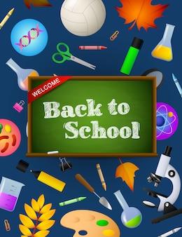 Letras de regreso a la escuela en pizarra