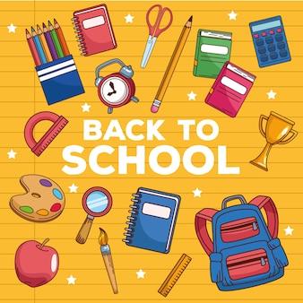 Letras de regreso a la escuela con suministros y accesorios.