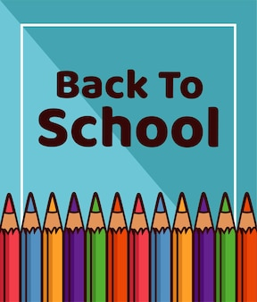 Letras de regreso a la escuela con suministros de colores del arco iris