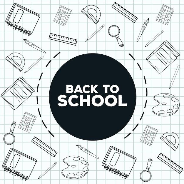 Letras de regreso a la escuela con suministros dibujados