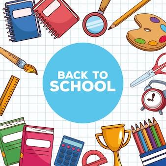 Letras de regreso a la escuela con suministros