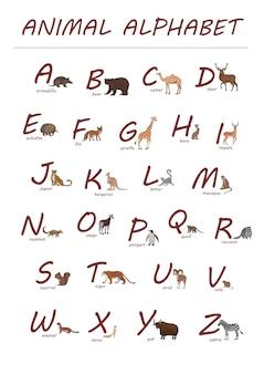Letras rojas y animales dibujados a mano en estilo de dibujos animados