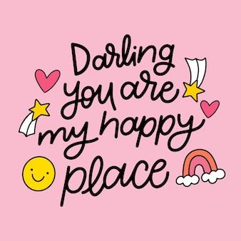 Letras románticas del día de san valentín en fondo rosa