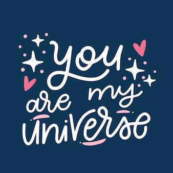 Letras románticas del día de san valentín sobre fondo oscuro