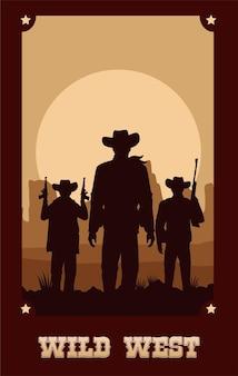 Letras del salvaje oeste en cartel con vaqueros y pistolas