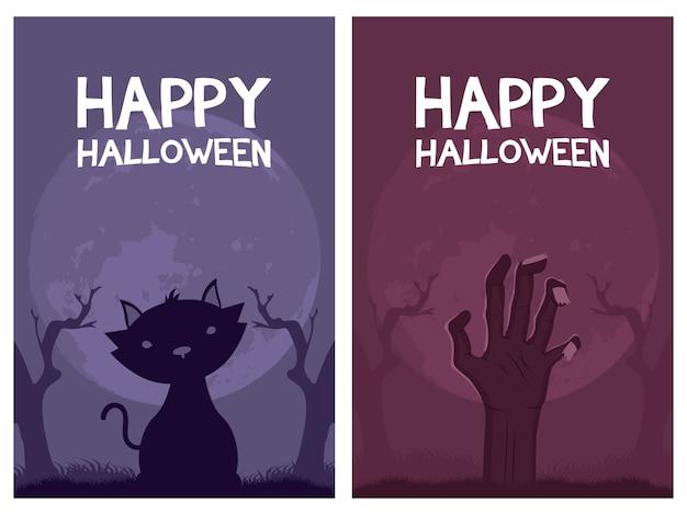 Letras de tarjetas de feliz halloween y gato con diseño de ilustración de vector de muerte de mano