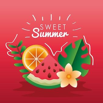 Letras de la temporada de verano dulce con frutas y hojas, diseño de ilustraciones vectoriales