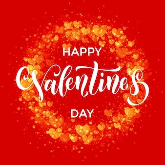 Letras de texto de lujo del día de san valentín con patrón de corazones dorados para tarjeta de felicitación roja premium
