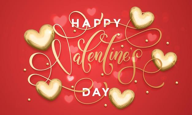 Letras de texto de lujo del día de san valentín en patrón de corazones dorados para tarjeta de felicitación roja premium