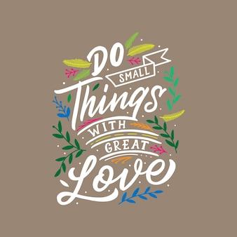 Las letras y la tipografía citan la motivación para la vida y la felicidad