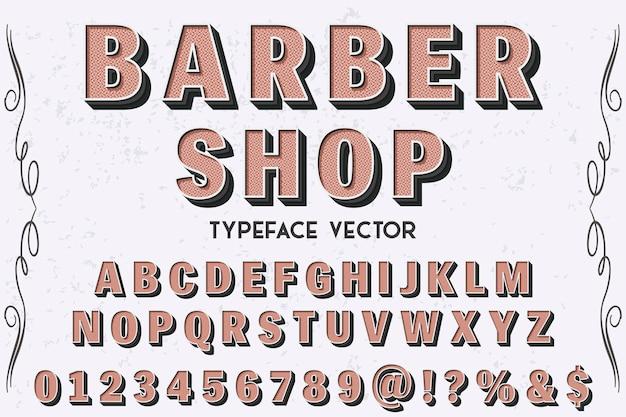 Letras tipografía etiqueta diseño barbería