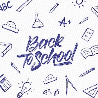 Letras tipográficas manuscritas de regreso a la escuela con garabatos