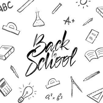 Letras tipográficas manuscritas de regreso a la escuela con suministros de garabatos sobre fondo blanco.