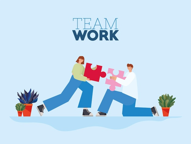 Letras de trabajo en equipo y hombre y mujer con una pieza de rompecabezas cada uno sobre una ilustración de fondo azul