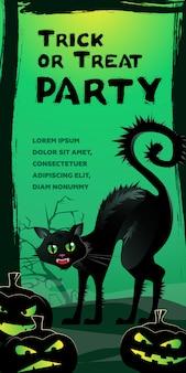 Letras de trick or treat party. silbido gato negro y calabazas