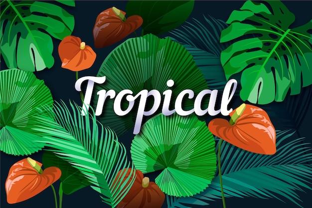 Letras tropicales de hojas y flores de lirio