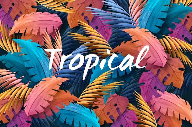 Letras tropicales con hojas y flores.
