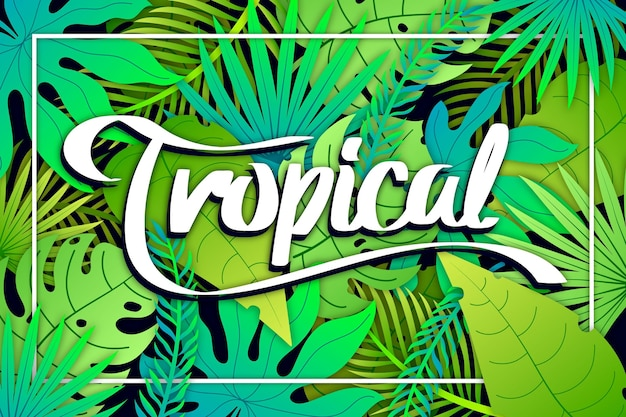 Letras tropicales con hojas y marco