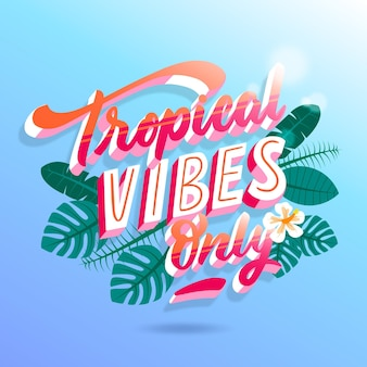 Letras tropicales con hojas o flores.