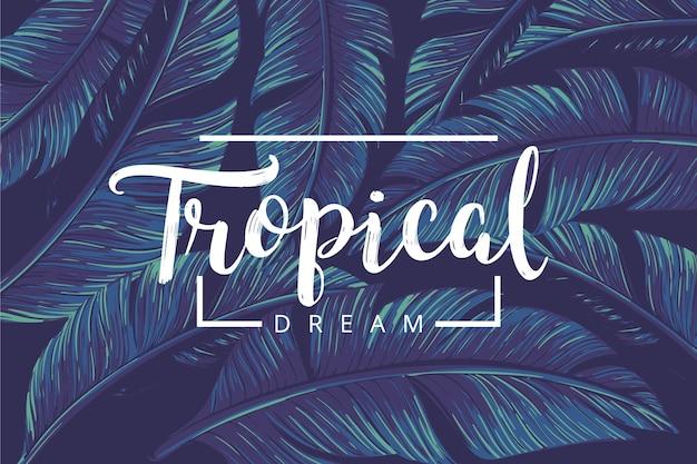 Letras tropicales con hojas