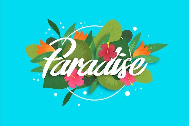 Letras tropicales con paraíso