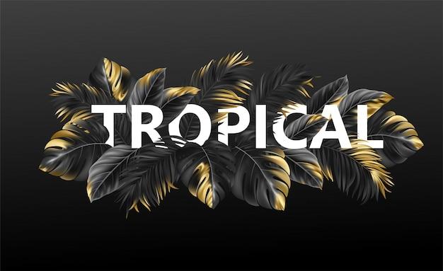 Letras tropicales sobre un fondo de hojas tropicales de plantas.