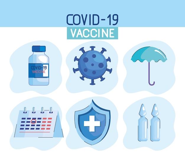Letras de vacuna con ilustración