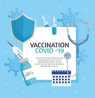 Letras de vacunación con ilustración de elementos establecidos