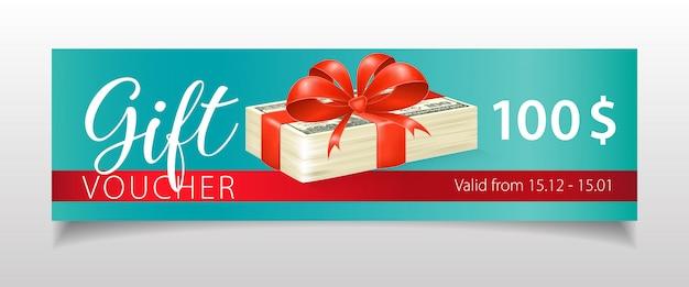 Letras de vales de regalo con billetes de dólar y cinta