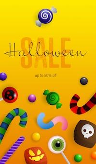 Letras de venta de halloween, calabazas, murciélagos y pociones en caldero