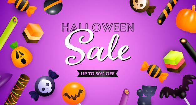 Letras de venta de halloween con confitería