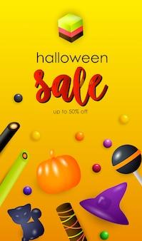 Letras de venta de halloween con dulces de gelatina