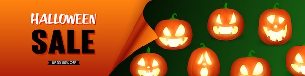 Letras de venta de halloween con linternas de jack o