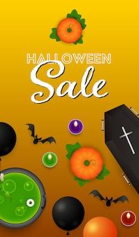 Letras de venta de halloween con velas, calabazas y pociones
