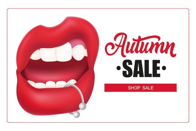 Letras de venta de otoño en marco, boca de mujer con piercing de labio