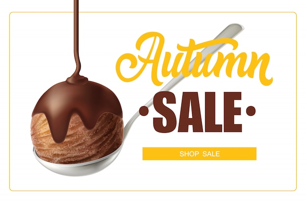 Letras de venta de otoño en marco y cucharada de helado de chocolate