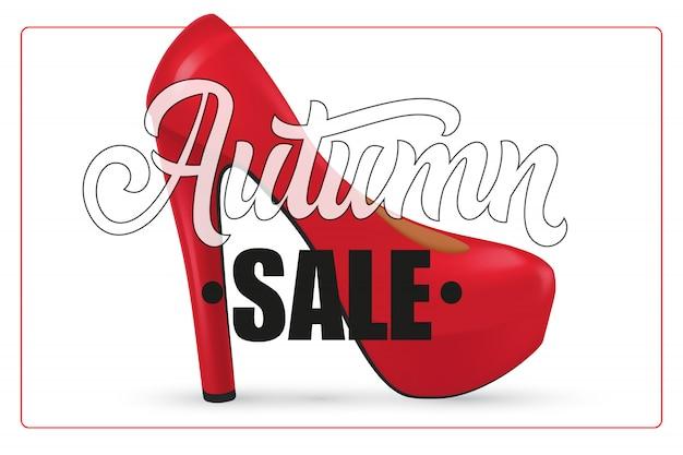 Letras de venta de otoño en marco con zapatos de tacón de mujer