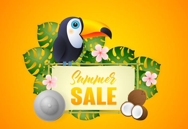 Letras de venta de verano con aves exóticas y plantas