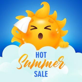 Letras de venta de verano caliente y personaje de dibujos animados de sol