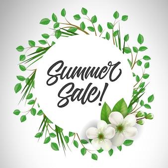 Letras de venta de verano en círculo con ramitas y flores. oferta o publicidad de venta