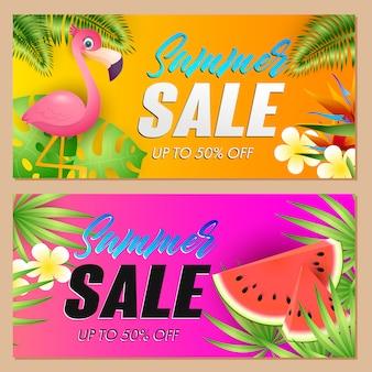 Letras de venta de verano conjunto con flamingo y sandía