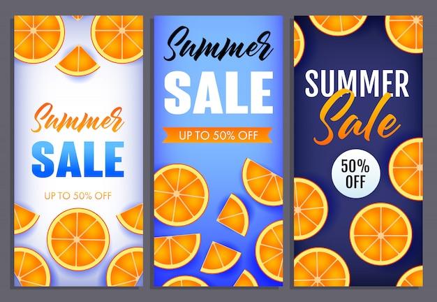 Letras de venta de verano conjunto con rodajas de naranja