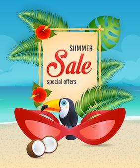 Letras de venta de verano con gafas de sol de mujer y tucán