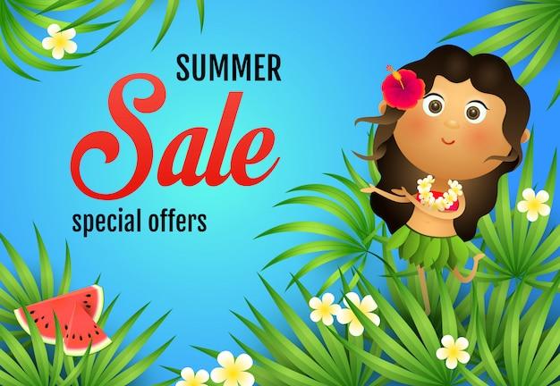 Letras de venta de verano, mujer aborigen, sandia y plantas.