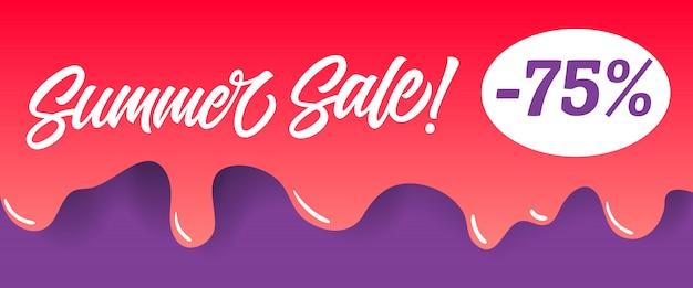 Letras de venta de verano en la pintura de goteo rojo. oferta de verano o publicidad de venta