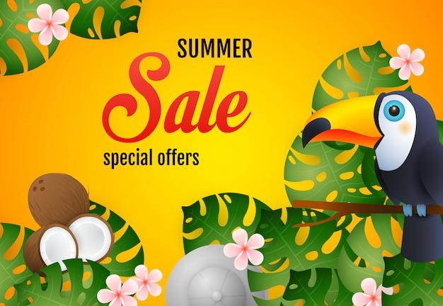 Letras de venta de verano con plantas tropicales, tucán y coco.