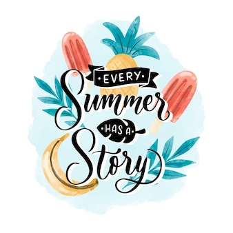 Letras de verano acuarela pintadas a mano
