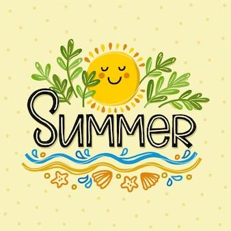 Letras de verano en arena con sol sonriente