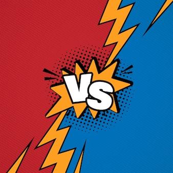 Las letras versus vs luchan contra el fondo en un diseño de estilo cómic plano con medios tonos, ilustración vectorial
