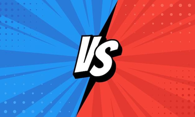 Las letras versus vs luchan contra fondos en un diseño de estilo cómic plano con medios tonos, relámpagos. vector